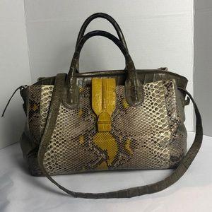 Nancy Gonzalez Crocodile,Python &calf hair Bag